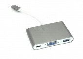 Адаптер Type-C на VGA, USB 3.0 + Type-С для MacBook серый