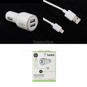 АЗУ Belkin 4,2A с двумя USB выходами + USB кабель Apple 8 pin (F8j071bt04-wht)(белый)